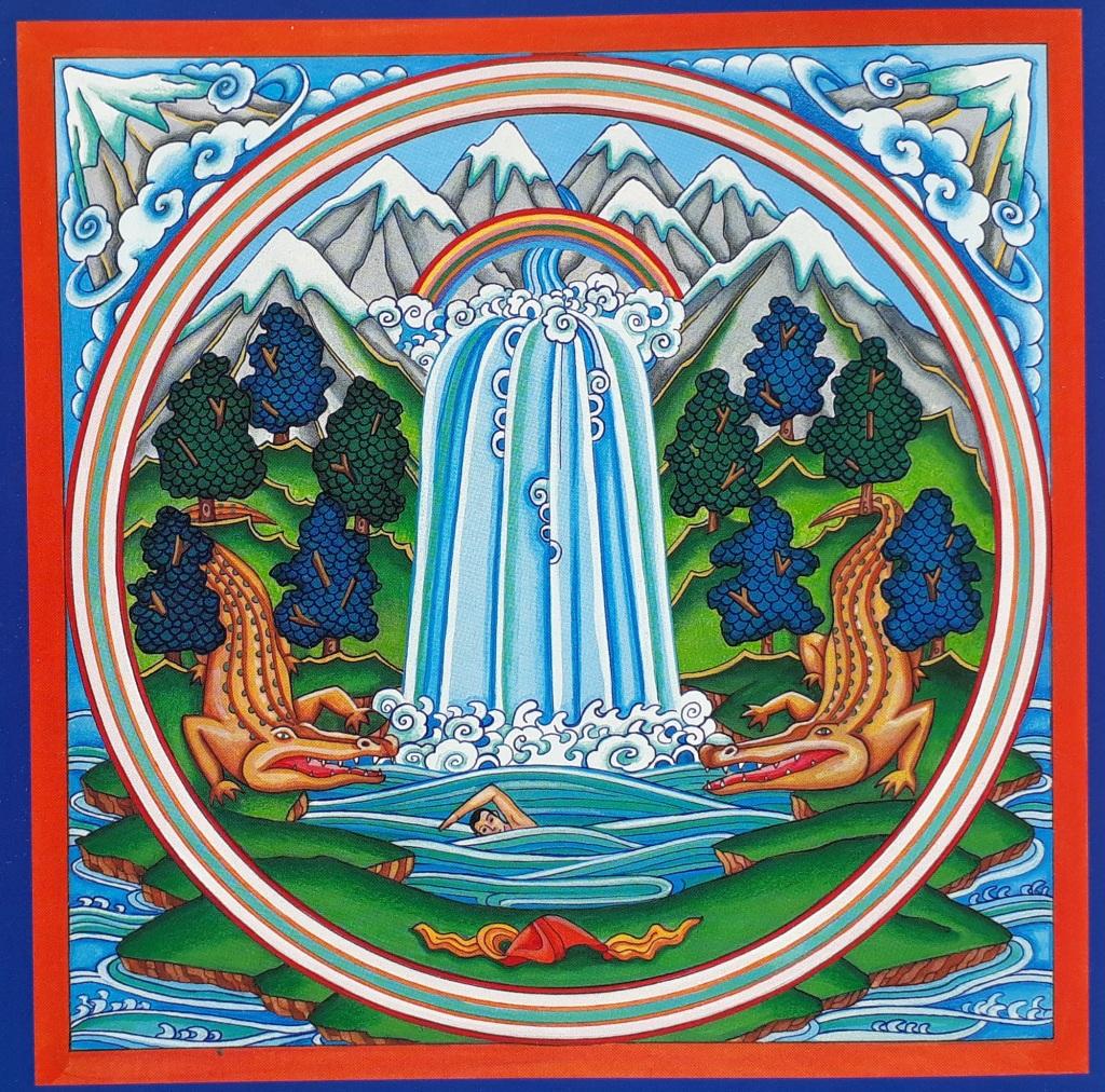 Mandala para meditación naturaleza con cascada, arcoiris, cocodrilos